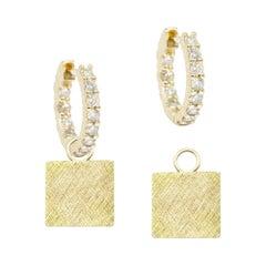 Florentine Square 18 Karat Gold Earrings