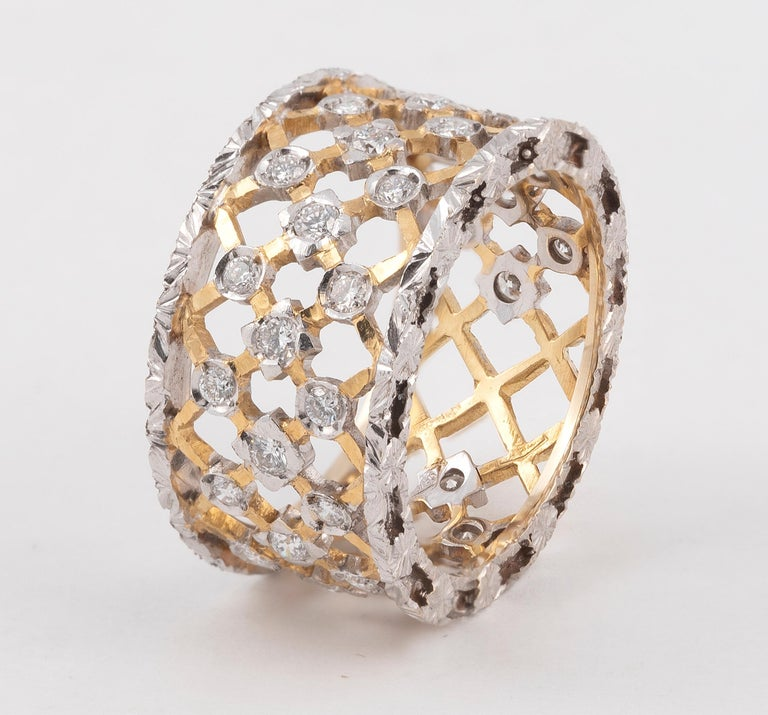 Contemporary Florentine Style 18 Karat White and Yellow Gold Diamond Band For Sale