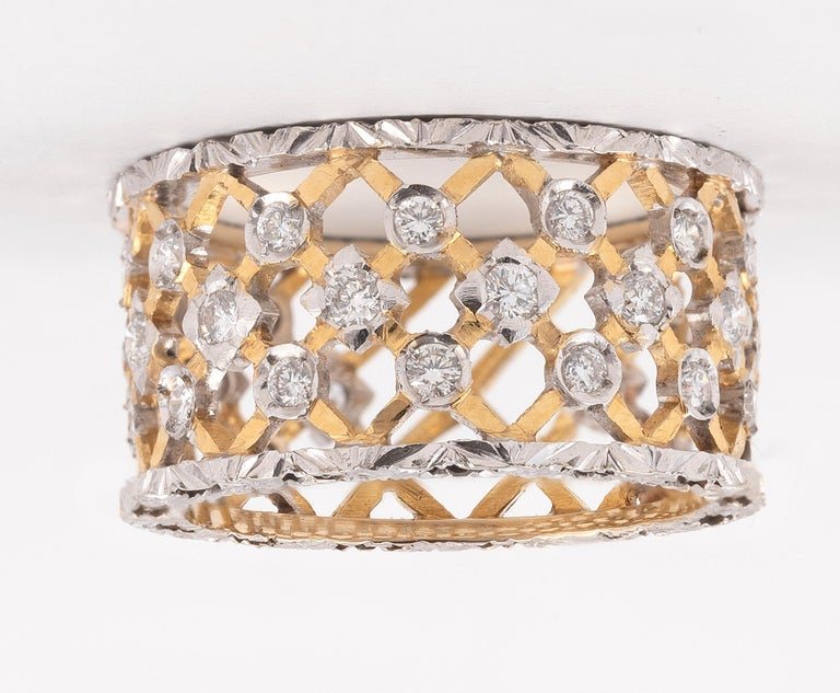 Brilliant Cut Florentine Style 18 Karat White and Yellow Gold Diamond Band For Sale