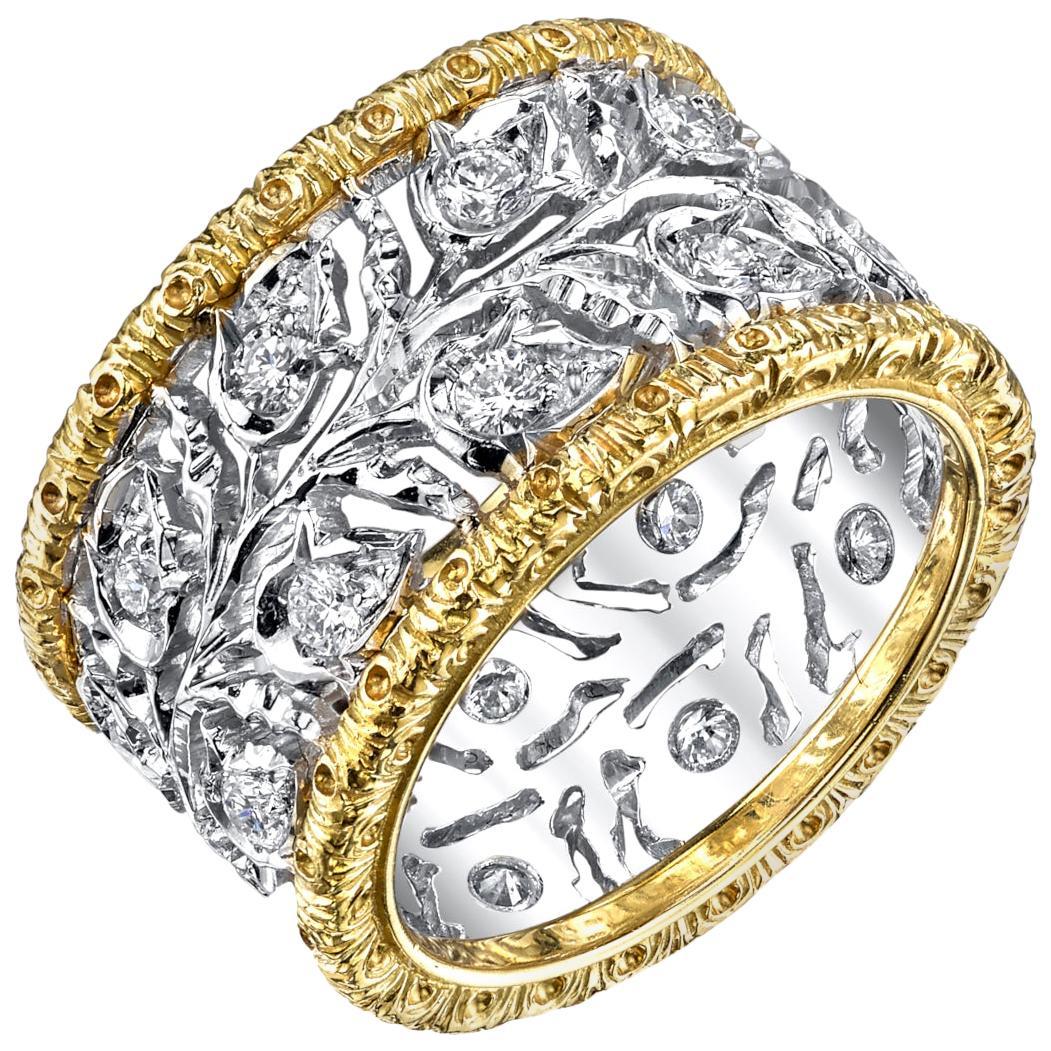 Italian Florentine 18k White, Yellow Gold Diamond Eternity Engraved Wedding Band