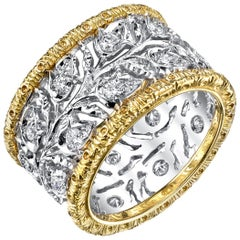 Florentine Style 18k White and Yellow Gold Diamond Band