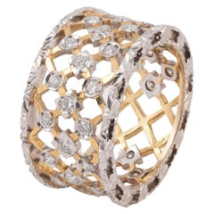 Florentine Style 18 Karat White and Yellow Gold Diamond Band