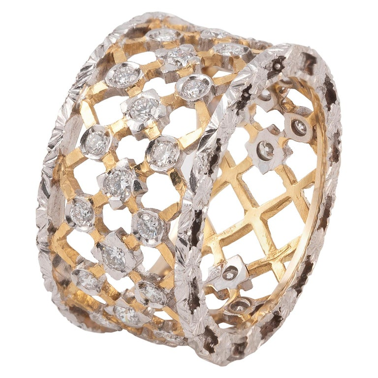 Florentine Style 18 Karat White and Yellow Gold Diamond Band For Sale
