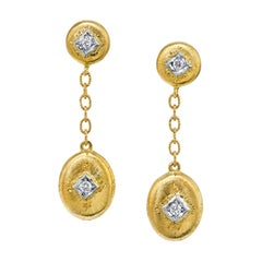 Florentine Style 18 Karat Yellow and White Gold and Diamond Dangle Earrings