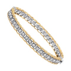 Florentine Style Diamond, Yellow, White Gold Bangle Bracelet, 1.00 Carat Total