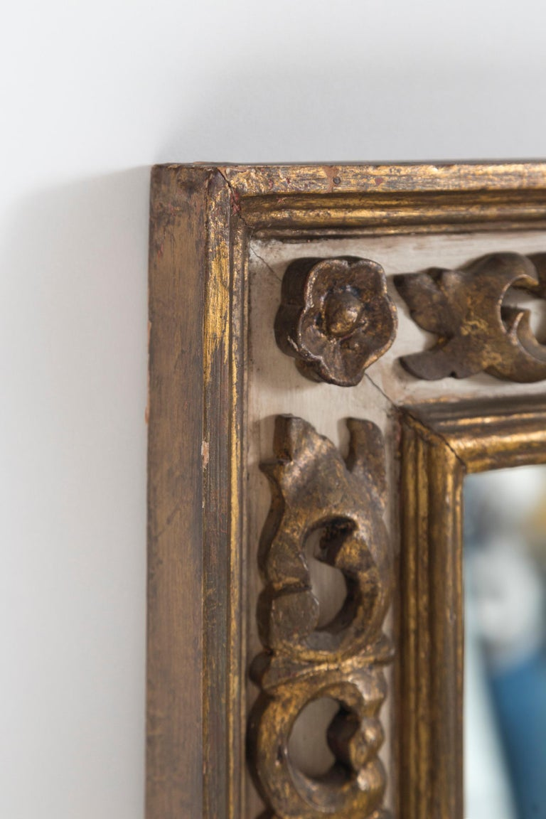 Glass Florentine Style Gilded Mirror, Mid-20th Century For Sale