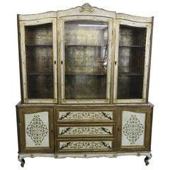 Florentine Style Gilt Painted China Cabinet