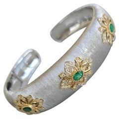 Florentine Technique 18K Gold Bracelet with Emeralds and Diamonds, One Piece