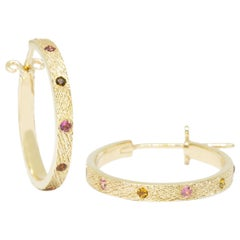 Florentine Tourmaline Multi 18 Karat Gold Hoop Earrings