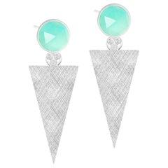 Chloe Chrysoprase & Florentine Triangle 30mm Silver Earrings