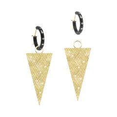 Florentine Triangle Diamond 18 Karat Gold and Oxidized Earrings