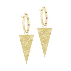 Florentine Triangle Tourmaline and Diamond Convertible Earrings Set