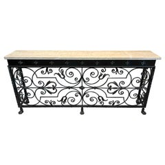 Florentine Wrought Iron & Marble Top Console