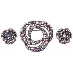 Florenza Boris Aurealis Crystal Circular Pin & Clip On Earrings Vintage