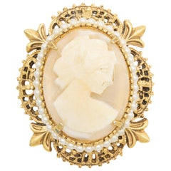 Florenza Gold Victorian Revival Cameo Pin Pendant with Faux Pearls, Mid 1900s