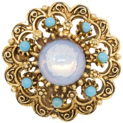 Florenza Gold Victorian Revival Pin Brooch with Moonglow and Turquoise Cabochons
