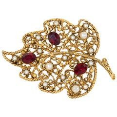 Florenza Ruby Crystal and Faux Pearl Filigree Leaf Pin Brooch in Gold