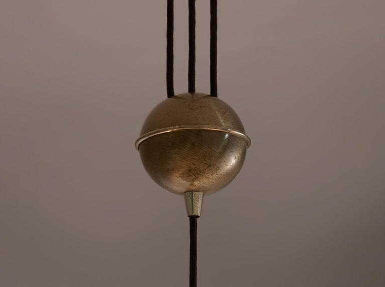 Mid-Century Modern Florian Schulz Adjustable Pendant in Brass with Counterweight