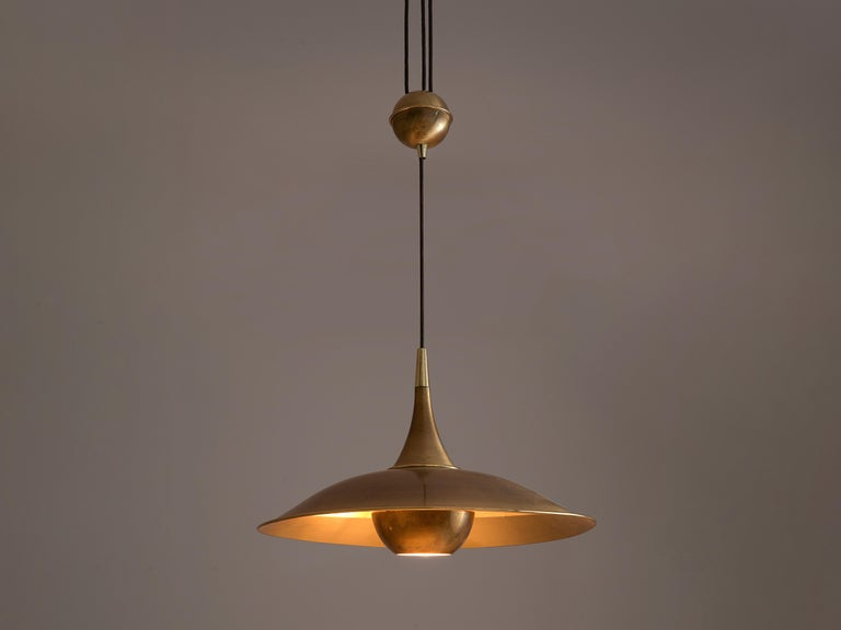 Painted Florian Schulz Adjustable Pendant in Brass with Counterweight