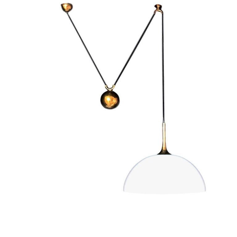 Florian Schulz Brass and Glass Counter Balance Pendant