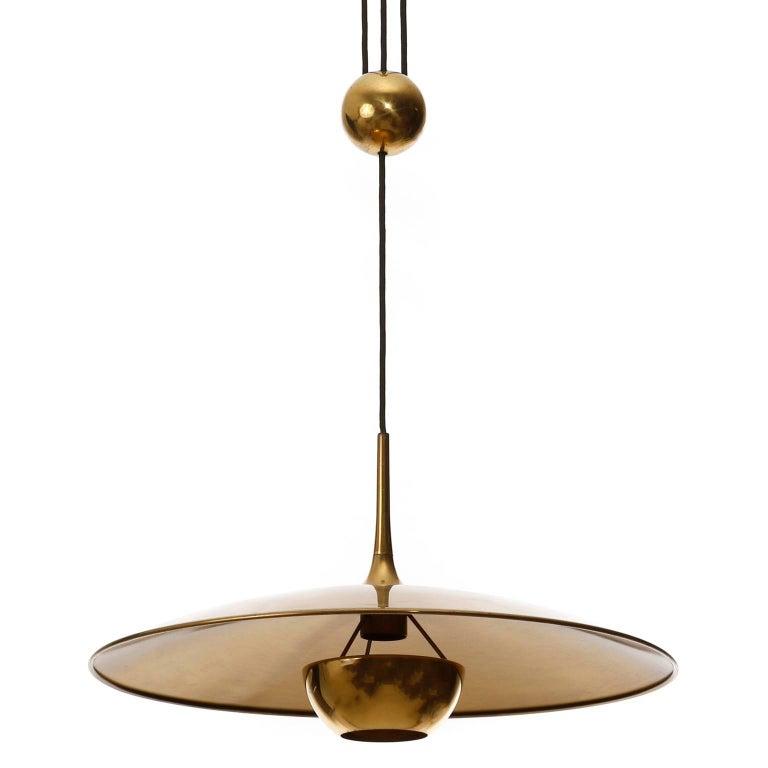 Florian Schulz Brass Pendant Light 'Onos 55' Counterweight Counter Balance, 1970 For Sale 4