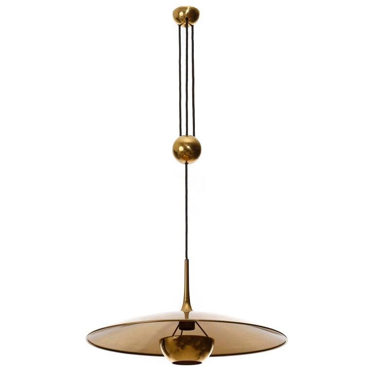 Mid-Century Modern Florian Schulz Brass Pendant Light 'Onos 55' Counterweight Counter Balance, 1970 For Sale
