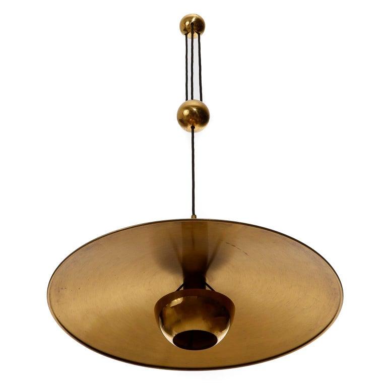 German Florian Schulz Brass Pendant Light 'Onos 55' Counterweight Counter Balance, 1970 For Sale