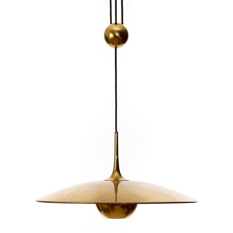 Florian Schulz Brass Pendant Light 'Onos 55' Counterweight Counter Balance, 1970 For Sale 2