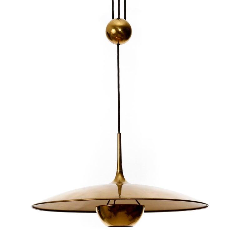 Florian Schulz Brass Pendant Light 'Onos 55' Counterweight Counter Balance, 1970 For Sale 3