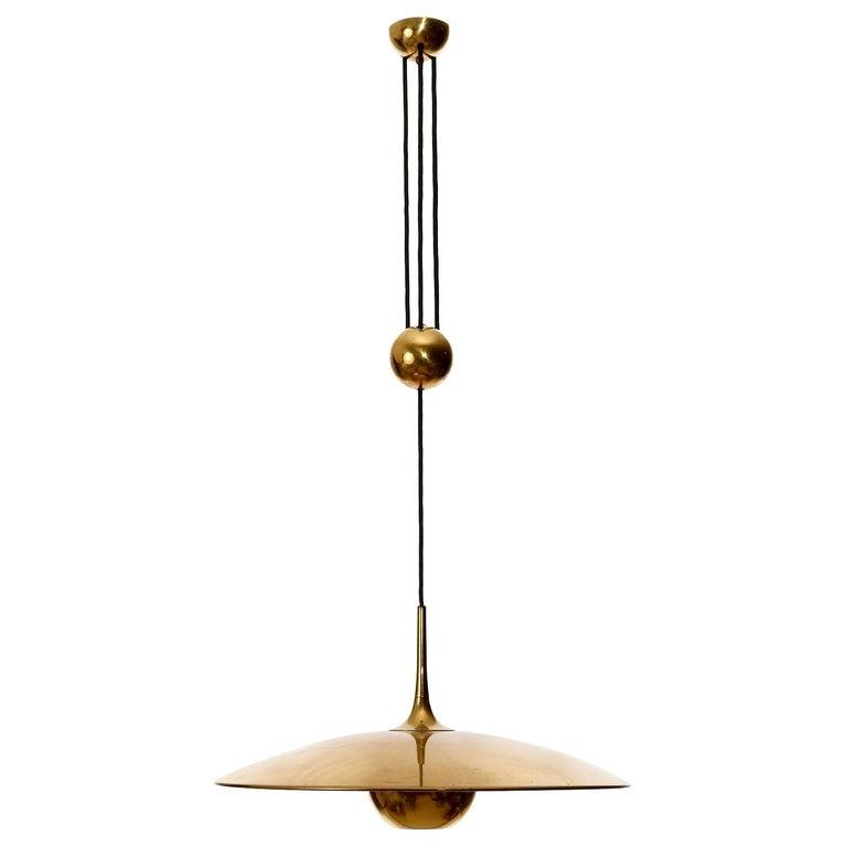 Florian Schulz Brass Pendant Light 'Onos 55' Counterweight Counter Balance, 1970 For Sale