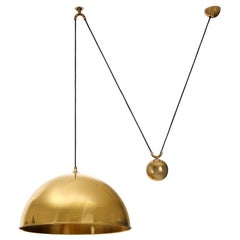 Florian Schulz Dome Pendant Light, Brass Counterweight Counter Balance, 1970