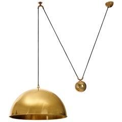 Florian Schulz Dome Pendant Light, Brass Counterweight Counter Balance, 1970