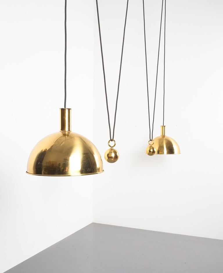 Mid-Century Modern Florian Schulz Double Counter Balance Brass Pendants For Sale