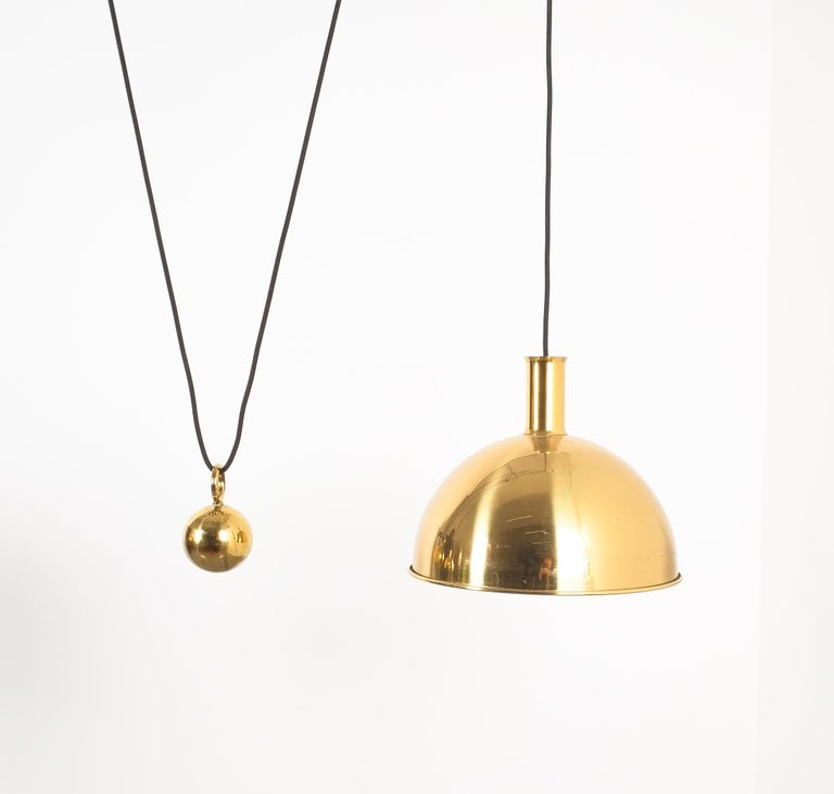 Polished Florian Schulz Double Counter Balance Brass Pendants For Sale