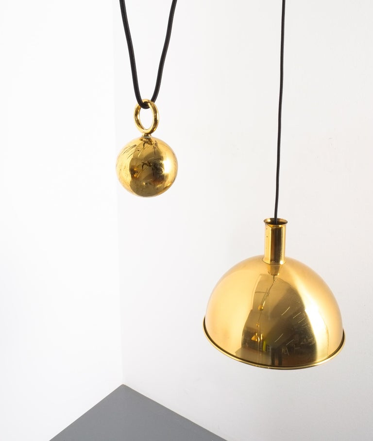 Florian Schulz Double Counter Balance Brass Pendants In Good Condition For Sale In Vienna, AT