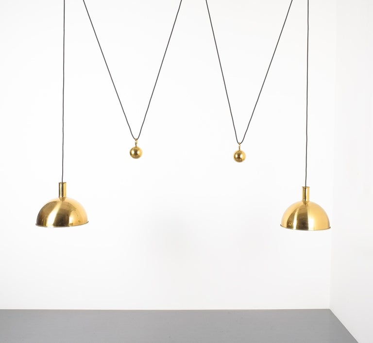 Late 20th Century Florian Schulz Double Counter Balance Brass Pendants For Sale