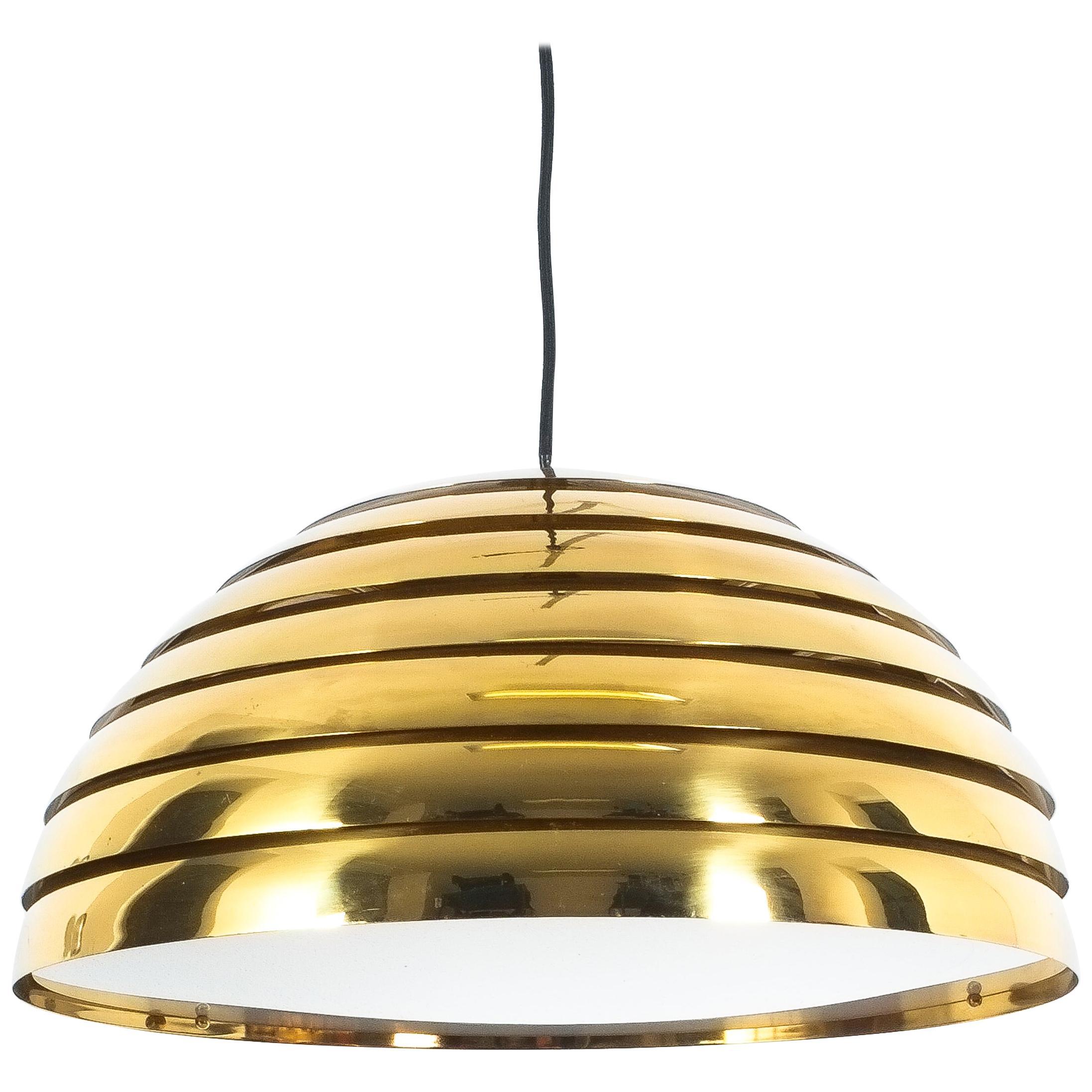Florian Schulz Large Brass Dome Pendant, Germany