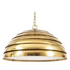 Florian Schulz Large Brass Dome Pendant with Translucent Diffuser