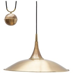 "Florian Schulz Pendant Light Model ""Onos 55"" in Brass, Germany"