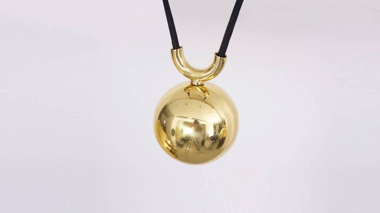 German Florian Schulz Posa Pendant with Counterweight in Brass For Sale