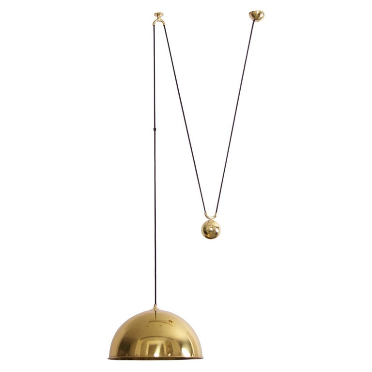 Florian Schulz Posa Pendant with Counterweight in Brass For Sale