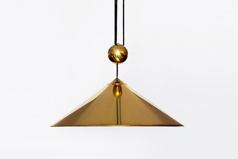Vintage single Florian Schulz counterbalance pendant in brass