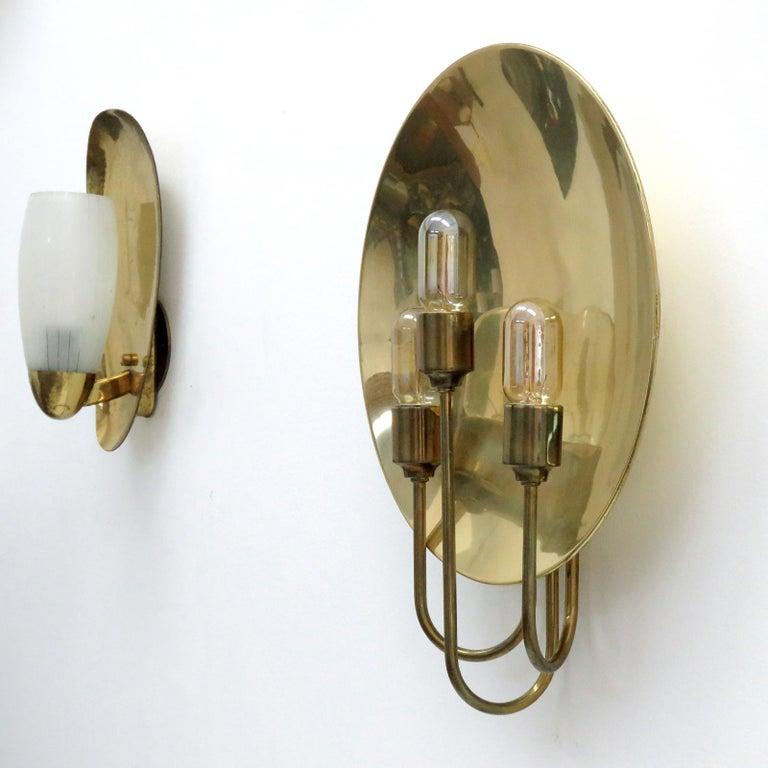German Florian Schulz 'W185' Brass Wall Light, 1960 For Sale