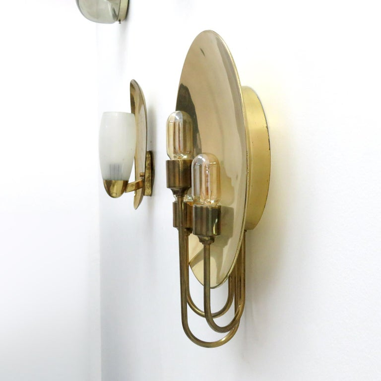Polished Florian Schulz 'W185' Brass Wall Light, 1960 For Sale