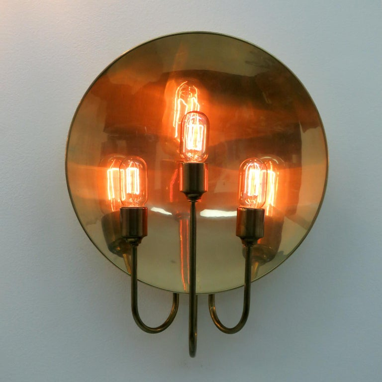 Florian Schulz 'W185' Brass Wall Light, 1960 In Good Condition For Sale In Los Angeles, CA