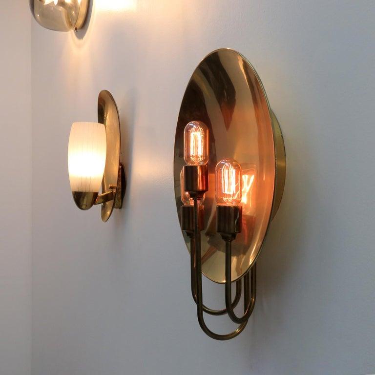 Florian Schulz 'W185' Brass Wall Light, 1960 For Sale 1