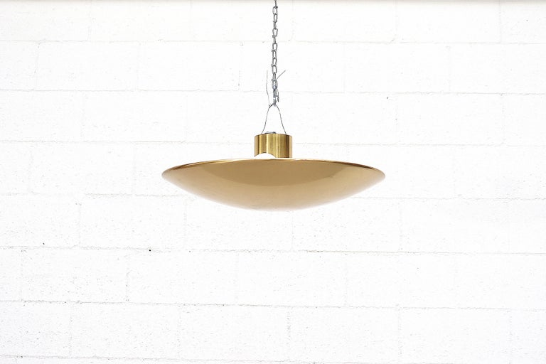 Beautiful 1970s designed Florian Shultz brass flush mount dome ceiling lamp with 5 up-light candelabra sockets. In original condition with minimal wear or scratching.
