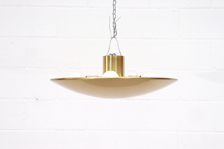 Florian Shultz Brass Flush Mount Ceiling Lamp In Good Condition For Sale In Los Angeles, CA