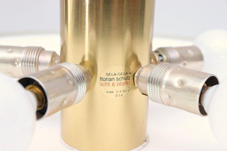 Florian Shultz Brass Flush Mount Ceiling Lamp For Sale 2