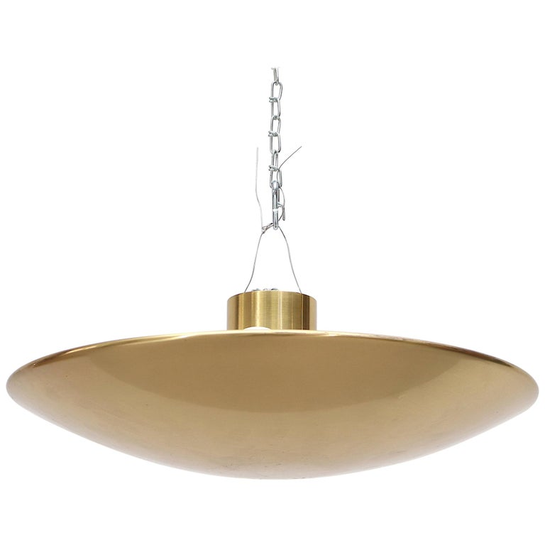Florian Shultz Brass Flush Mount Ceiling Lamp For Sale